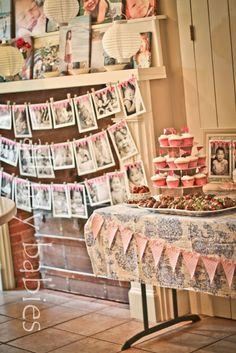most precious ideas for a little girls party! Love the blog too! Note: Do a picture strand for each of the girls at the birthday party so each one is individually recognized.  I love the way these look.  :)