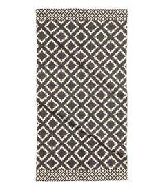 Mønstret gulvteppe i bomull | Naturhvit/Sort | Home | H&M NO