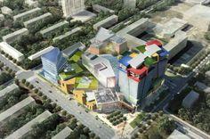 Construction Begins on Moscow's Green-Roofed, Geometric Kuntsevo Plaza