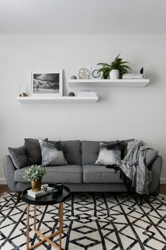 Scandinavian Living Room Ideas ---- Ideas Decor Small Interior Layout Colors Modern Farmhouse Rustic Apartment Cozy Contemporary Design Furniture Eclectic Bohemian Paint Traditional Rug Country Neutral Gray Fireplace Grey Wall Lighting Fixer Upper On A Bu Living Room Colors, Living Room Paint, Living Room Grey, Living Room Designs, Living Room Wall Shelves, Small Living Room Design, Small Living Rooms, Monochromatic Living Room, Modern Farmhouse Living Room Decor