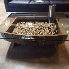 Barrel Coffee Table Glass Top Cork Storage