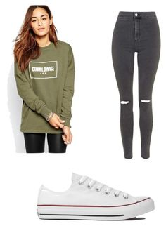 """""""Untitled #659"""" by clarry-sinclair ❤ liked on Polyvore featuring Criminal Damage, Topshop and Converse"""