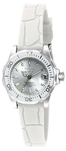 6e47288e094 Invicta Womens Pro Diver Quartz Stainless Steel and Silicone Diving Watch  ColorWhite Model 11563