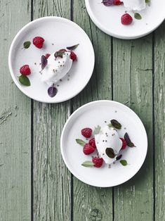 Mint Sorbet with Raspberries & Honey Roasted Buckwheat