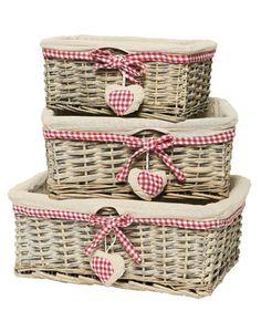 Set of 3 Heart Themed Baskets