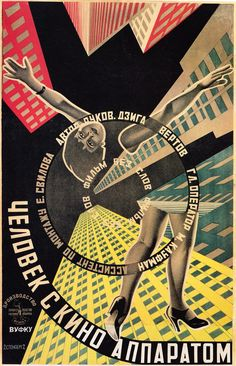 "Cartaz do filme ""The Man with the Movie Camera"", 1929, feito pelos irmãos Georgii e Vladimir Stenberg"