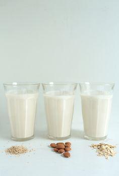 3 home made non-dairy milk substitutes: sesame milk, almond milk, oatmeal milk