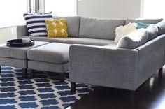 Light Gray Karlstad Sofa - simple hack - spray paint legs