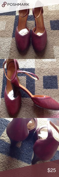 Vintage Shoes Cute burgundy heels great condition small flaw see pic 3 (left heel) comes in original box Etienne Aigner Shoes Heels