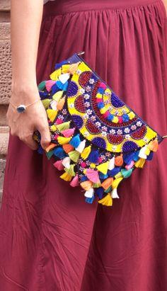 Pom Pom Clutch, Boho Tassel Womens Clutch, Handmade Leather Clutch, Bohemian…