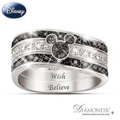 Engraved Mickey Mouse sterling silver ring with black and white Diamonesk® simulated diamonds, silhouette of Mickey's face and ears. Gift box.