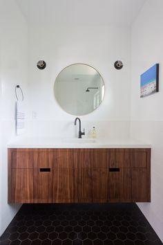 modern bathroom matte black floating vanity walnut