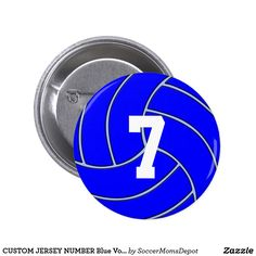 CUSTOM JERSEY NUMBER Blue Volleyball Round Button - A great way to support your favorite volleyball players and teams, especially those with blue team colors! #volleyball #team #blue #sports #button