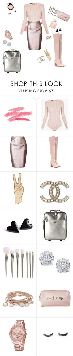 """Stretch knit striped bodysuit Balmain, Leather shinny skirt,Gianvito Rossi exclusive suede over the knee boots, Neiman Marcus Pucker up leather cosmetic case."" by kricheli ❤ liked on Polyvore featuring Balmain, Gianvito Rossi, Lucky Brand, Prada, Effy Jewelry, Marjana von Berlepsch, Neiman Marcus, Luxie and MAC Cosmetics"