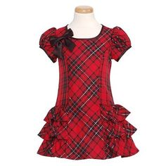 Bonnie Jean Red Black Silver Plaid Christmas Dress Little Girls Little Girl Outfits, Little Girl Dresses, Kids Outfits, Baby Girl Dresses, Baby Dress, Cute Dresses, Dress Anak, Style Couture, Frocks For Girls