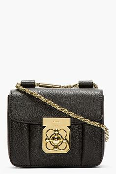 Chloe | Black grained leather mini Elsie bag
