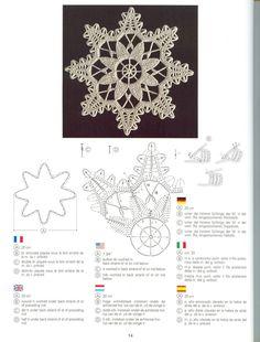 "Best 12 Photo from album ""Creations Crochet D'or"" on Yandex Crochet Snowflake Pattern, Crochet Stars, Crochet Snowflakes, Crochet Doily Patterns, Crochet Diagram, Crochet Doilies, Crochet Flowers, Crochet Stitches, Crochet Home"