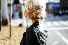 updo + leather