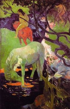 The White Horse by Paul Gauguin 1898. The pharmacist who commissioned this painting rejected it because the horse was green. Gauguin sent it back to France. It now hangs in the Musee d'Orsay.