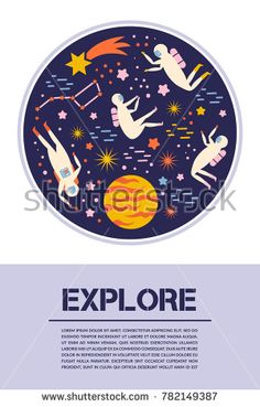 Space exploration. Objects, symbols design elements Vector illustration