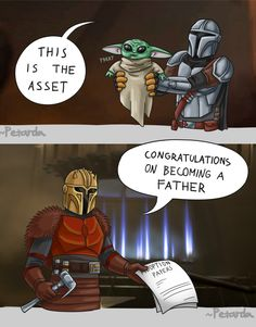 featuring a single dad just doing his best, also known as Mando the Mandalorian Star Wars Comics, Star Wars Jokes, Star Wars Fan Art, Star Trek, Yoda Meme, Film Serie, Cultura Pop, Clone Wars, Kawaii