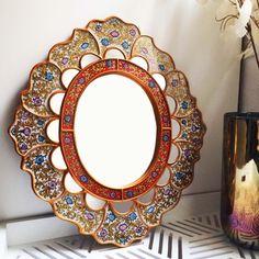 Espejo decorativo vidrio pintado tesoro floral andino for Espejos artesanales