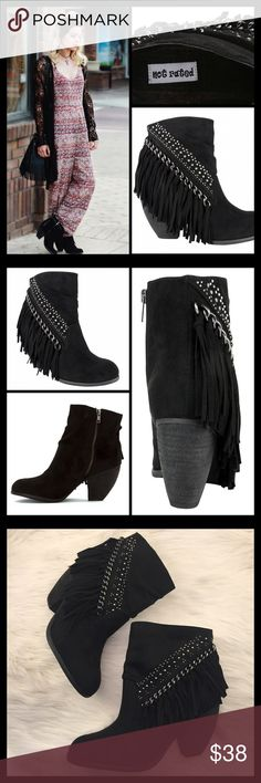 "✔️ROCK FRINGE BOOTIE Rocker and country details harmonize on these rhinestone and fringe booties. ▪️2½"" stacked heel  ▪️4¼"" shaft with ruched pleat at front  ▪️Almond toe  ▪️Side zipper closure  ▪️Asymmetrical placed rhinestones, chain-link and fringe accents ▪️Rubber outsole  ▪️Micro suede upper ▪️Some scaring/most hidden under fringe  🛍 2+ BUNDLE=SAVE  ‼️NO TRADES--NO HOLDS--NO MODELING  ✈️ Ship Same Day--Purchase By 2PM PST  🖲 USE BLUE OFFER BUTTON TO NEGOTIATE   ✔️ Ask Questions Not…"