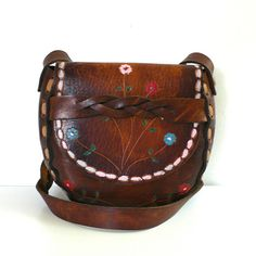 Vintage Tooled and Painted Flowers Purse by junkyardgarden on Etsy