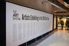 Greeting all visitors to the show: a huge banner listing all the exhibiting artists in the show Nz Art, Banner, Artists, Album, Banner Stands, Banners, Card Book, Artist