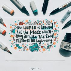 A Blatant Honest Letter To Myself The world is round and the place which may seem like the end may also be only the beginning. Brush Lettering Quotes, Calligraphy Quotes, School Notes, I School, Gorgeous Quotes, Grace Alone, Work Inspiration, Life Skills, Book Lovers