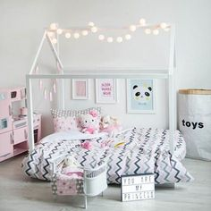 Toddler bed montessori bed house bed wood baby furniture kid nursery bed white bed tent teepee house room ideas for girls Bright Girls Rooms, Little Girl Rooms, Toddler Rooms, Toddler Bed, Girls Room Design, Deco Kids, Bed Tent, Ideas Hogar, Baby Furniture