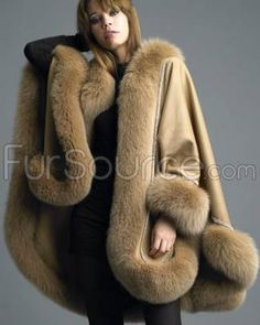 Cashmere Cape with Swarovski Crystal Boarder with Fox Fur