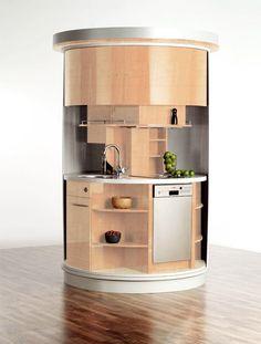 Tiny revolving circle kitchen!