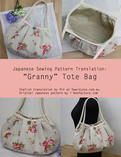 Granny Bag - Free Sewing Translation and PDF Pattern + How To Bind and Corner A Raw Edge Using Bias Tape