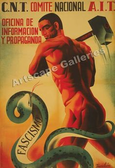 "16x24 CNT FAI /""This is fascism Destroy it/"" 1930s Spanish Civil War Poster"