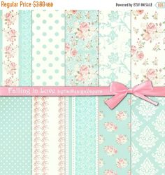 SALE Shabby chic digital paper : FALLING IN by HajDesignPapers