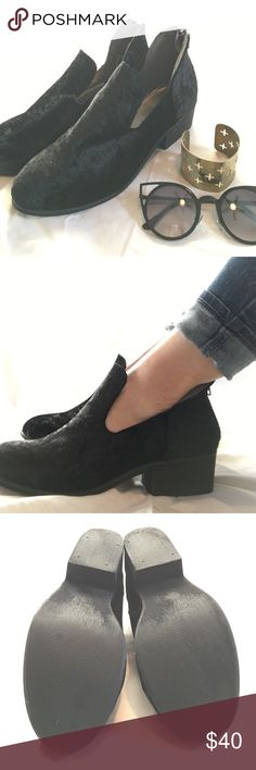 UO Black Velvet Ankle Booties ⚡️ UO - ecoté Brand ✨ Never Worn ✨ Black Velvet Booties w/ Back Zip ✨ Super Cute but a tiny bit big on me **I go between size 7.5 - 8, definitely closer to 7.5. ...these 8's are a bit big on me. Would fit a True 8. ✨ Additional Photos Always Available! Urban Outfitters Shoes Ankle Boots & Booties