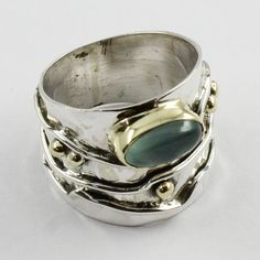 Aqua Chalce Stone Beautiful Design 925 Sterling Silver Ring by JaipurSilverIndia on Etsy