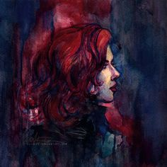 'Widow.' A watercolor painting of Natasha Romanoff, by Alice X.Z.