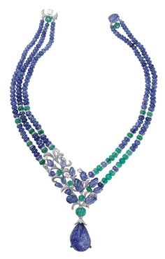 L'Odyssée de Cartier Parcours d'un Style 'India' 'high jewelry necklace in platinum, set with a carved sapphire, melon-cut sapphire, emerald beads, sapphire carved leaves and diamonds. Photo courtesy of Cartier Cartier Jewelry, Gems Jewelry, High Jewelry, Antique Jewelry, Vintage Jewelry, Jewelry Necklaces, Beaded Necklace, Cartier Necklace, Silver Jewelry