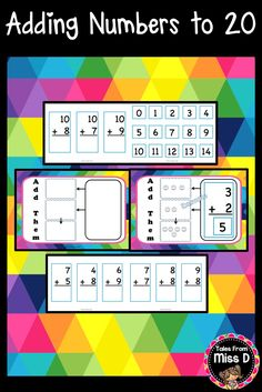 This Adding Numbers to 20 Activity allows students to transition from counting objects to understanding the concept of number. Included; 1) Example problem showing how to use the Addition Board 2) Blank, printable Addition Board 3) A series of Addition Problems Cards e.g. '3 + 3' 4) Answer Cards e.g. '6' © Tales From Miss D