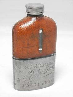 ANTIQUE McCALLUMS PERFECTION SCOTCH WHISKY ADVERTISING HIP FLASK - Vintage-Kitsch vintage and antique cutlery, silver, silver plate, Cornish ware, antique pencils, kitchenalia and curios