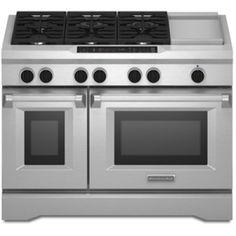 """KitchenAid® Commercial Style 48"""" Pro Style Dual Fuel Range-KDRS483VSS"""