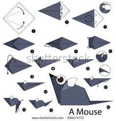 Step by step instructions how to make origami A Mouse. easy step by step Origami Paper Folding, Paper Crafts Origami, Origami Envelope, Origami Mouse, Origami Butterfly, Diy Weihnachten Papier, Origami Easy Step By Step, Origami Patterns, Origami Dragon