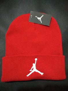 Mens / Womens Air Jordan USA Top Selling White Classic Jumpman Embroidery Cuffed Knit Beanie Cap - Red