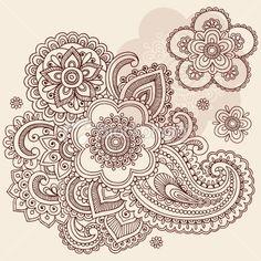 Henna Mehndi Flowers and Paisley Doodles Royalty Free Stock Vector Art Illustration
