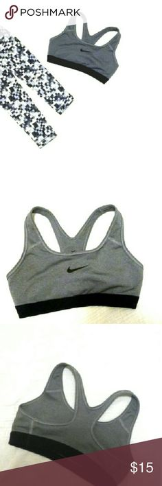 Nike Dri Fit Sports Bra Charcoal LIKE NEW This sports bra is in like new condition.   It is charcoal and black and can pair with anything black, white, grey, or actually ANY color!   Size XS Nike Intimates & Sleepwear Bras
