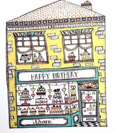Birthday Card Personalised Mothers Day Card Age Girls Whimsical Cake Shop