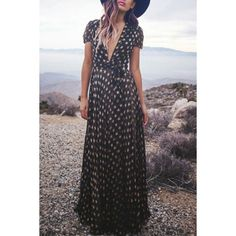 Love this long maxi dress that's got a casual look! Would love in a #stitchfix !  Stylish Women's Short Sleeve Plunging Neck Star Dress