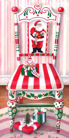 40 Top Diy Painted Chair Designs Ideas Try - Page 44 of 47 Christmas Chair, Noel Christmas, All Things Christmas, Vintage Christmas, Christmas Ornaments, Whimsical Christmas, Winter Christmas, Christmas Projects, Holiday Crafts